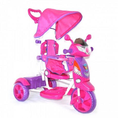 Moto Triciclo New Rider a Spinta con Pedali per Bambini Rosa Dugez