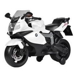 COLIBRI' Moto Elettrica Bmw K1300s bianco Con Luci, Suoni E Rotelle Stabilizzatrici 12 volt