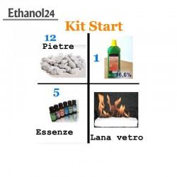 Kit Start 1 L Bioethanol + stone + 5 essence + ceramic fiber