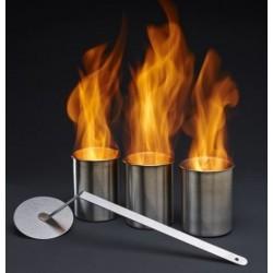 3 x 0,5 BRÛLEURS EN ACIER INOX -ETA111-POUR BIOETANOLO + ÉTEINS FLAMME INOX