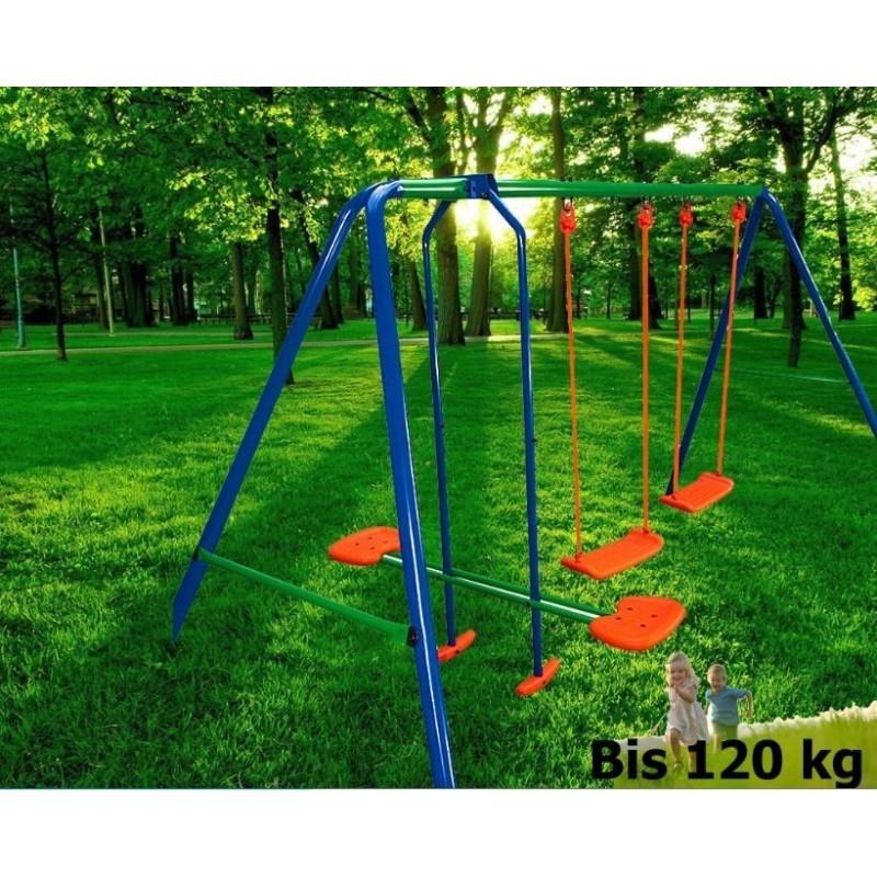 Altalena da esterno per bambini s003 4 posti 2 altalene 1 cavalluc - Dondolo da giardino 2 posti ...
