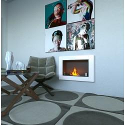 MEGALINE cm.78 SMALL GLASS Bianco Biofireplace Bio fireplaces ethanol fireplace