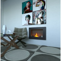 MEGALINE cm.78 SMALL GLASS Black Nero Biofireplace Bio fireplaces ethanol fireplace