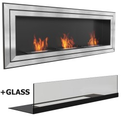con vetro LONDON GLASS MEGA 180 x 65 cm Biocamino 3 mega burner Bio camino al bioetanolo