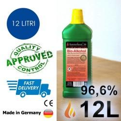 12 litri di bioetanolo alta qualità 96,6% in 12 bottiglie da 1 litro