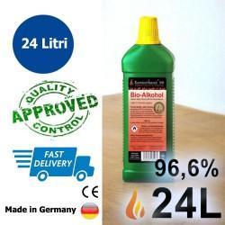 24 litri di bioetanolo 96,6%, 24 bottiglie con la sicurezza dei bambini