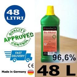 48 litri di bioetanolo alta qualità 96,6% in 48 bottiglie da 1 litro