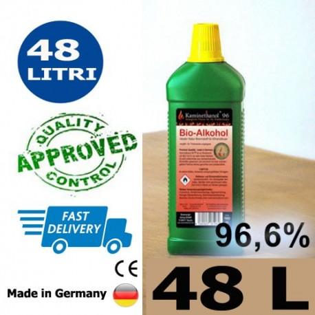 48 liters of high-quality bioethanol 96.6% in 48 bottles of 1 liter