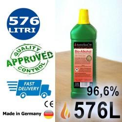 576 litri di bioetanolo alta qualità 96,6% in 576 bottiglie da 1 litro
