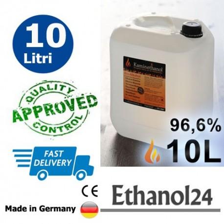 10 litri di alta qualità bioetanolo 96,6% in 1 tanica da 10 litri