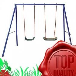 COLUMPIO DE ACERO DOBLE ETCD-S004, oscilación de los niños, juego de jardín, columpio para niños, dos asientos