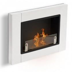 Biocamino 78 x54 cm Bianco con vetro bruciatore da 1,5 stufa Bioetanolo