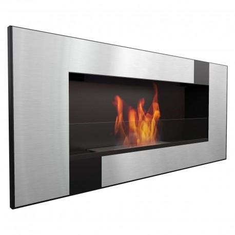 Biocamino 90x40 cm con vetro da parete Delta 2 Qube bruciatore da 1,2 litri