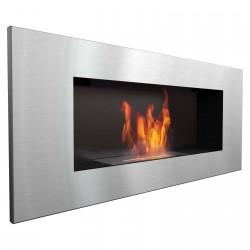Biocamino Argento acciaio 90x40 cm da parete Delta 2 slif bruciatore da 1,2 litri