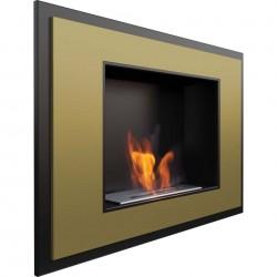 Biocamino 80x60 cm colore oro mod Alpha bio camino senza vetro