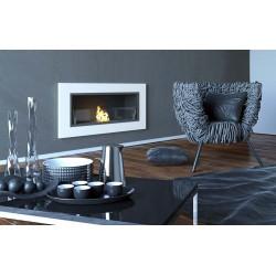 Biocamino 90x40 cm con vetro da parete Bruciatore bianco