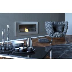 Biocamino 90x40 cm con vetro da parete Bruciatore argento
