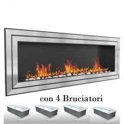 Biocamino 150x58x16 cm - 4 mega bruciatori - London 150 - con vetro