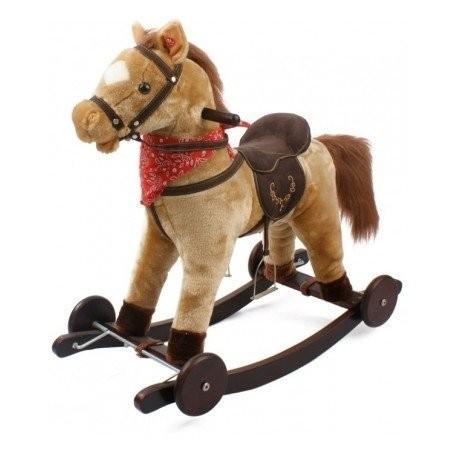 Cavallo Berlin Con Ruote in Legno Dondolo Gioco Bimbi Bambini Peluche Bimbe