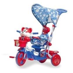 Triciclo Orsetto Rosso Con Pedali e Cappottina Parasole Gioco Per Bambini
