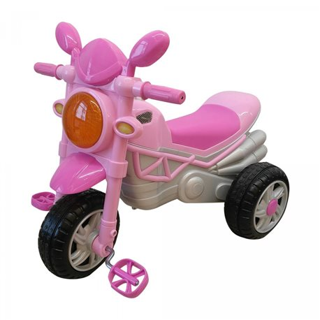Moto Triciclo Monster con Pedali per Bambini Rosa Dugez